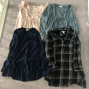 Lot of 4 Maternity Blouses Size Small